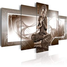 'Musing Buddha' Graphic Art Print Multi-Piece Image on Canvas Bloomsbury Market Size: H x W Large Canvas Wall Art, Framed Wall Art, Canvas Art, Painting Prints, Wall Art Prints, Canvas Prints, Buddha, Colorful Clouds, Photo Images