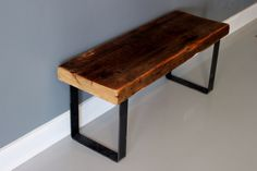 Reclaimed Wood and Steel Bench, Reclaimed Wood, Bench, DIning Bench by DendroCo on Etsy https://www.etsy.com/listing/179084506/reclaimed-wood-and-steel-bench-reclaimed