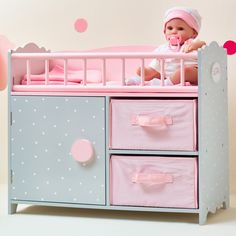 Teamson Olivia's Little World Polka Dots Princess Baby Doll Crib with Cabinet and Cubby