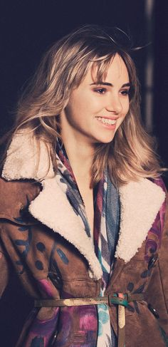 British model Suki Waterhouse wearing hand-painted runway shearling on the set of the new Burberry Prorsum campaign
