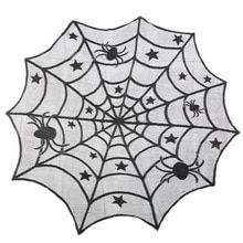 Naladoo Halloween Spiderweb Tablecloth Black Lace Bat Spider Party Table Decor Curtain,for Hung On Wall Or Over Door Or Used As A Table Cloth