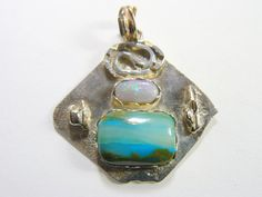 Peruvian picture opal Designer pendant with 14k by DesignsbyShirl