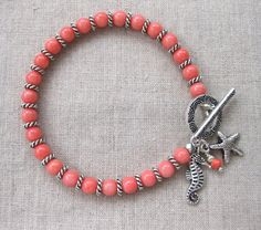 Tropical Coral - Coral and Silver Coastal Charm Bracelet w Seahorse & Starfish Charms by SeaSide Strands