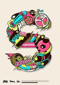 P.E.M.S Font illustrations by Pems Lou, via Behance