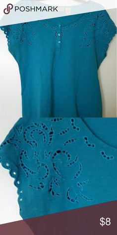 Turquoise ART & SOUL Tee Cotton blend almost sleeveless top with eyelet design around collar and sleeves.  Material has an almost invisible design.  Can dress it up or down.  Great summer find! Art and Soul Tops Tees - Short Sleeve