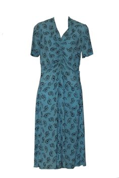 Vintage 1940s Dress, with feather novelty print in cornflower blue, appox. UK Size 10/12