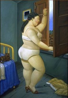 artnet Galleries: Woman in Front of a Window by Fernando Botero from Galerie Patrice Trigano Diego Rivera, Renoir, Frida Diego, Clemente Orozco, Illustrator, Plus Size Art, Fat Art, San Fernando, Gabriel Garcia Marquez