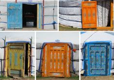Brightly colored doors on yurts in Mongolia