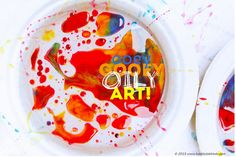 Process Art for Kids - Ooey Gooey Oily Art White Plates (Ceramic or Styrofoam work best) Baby Oil Corn Syrup Almond Milk Food Coloring Spoons and containers Eye Droppers (optional) Magnifying glass Preschool Arts And Crafts, Art Activities For Kids, Preschool Science, Color Activities, Science Art, Science For Kids, Science Projects, Projects For Kids, Art For Kids