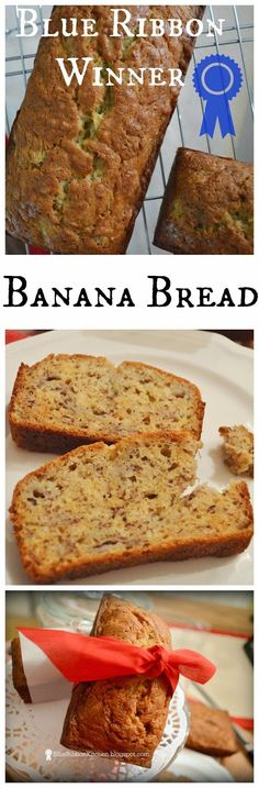 Blue Ribbon Kitchen: Prize-Winning Banana Bread-pretty good but not the best I have had-made for friends' car trip Banana Nut Bread, Blue Ribbon Banana Bread Recipe, Sour Cream Banana Bread, Breakfast Recipes, Dessert Recipes, Dessert Bread, Banana Bread Recipes, Food To Make, The Best