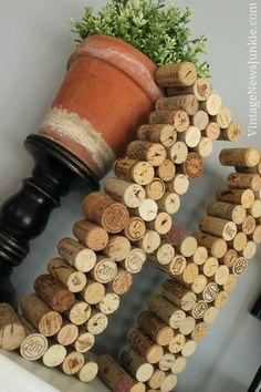 DIY Cork Letter Monogram on Mantel