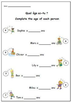 Say Your Age FRENCH WORKSHEETSimple Writing Exercise to Help