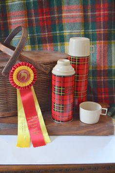 Vintage Plaid Tartan Pair of Thermos Bottles