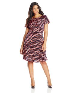 London Times Women's Plus-Size Short Sleeve Ruched Waist Fit and Flare Dress, Navy/Coral, 16