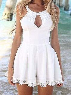 White Lace Splicing Sexy Hollow Skirt Jumpsuit 15.50