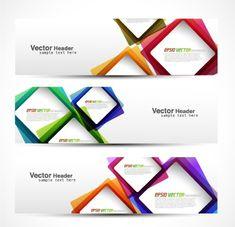 Vector heard of modern banner design elements 02