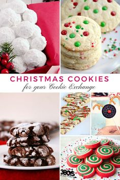 Are you looking for the best cookie exchange recipes? Pick a few from this great collection and spread cheer and joy this year in the form of cookies! Easy Christmas Cookie Recipes, Christmas Cookie Exchange, Holiday Cookies, Holiday Treats, Christmas Treats, Holiday Recipes, Christmas Foods, Christmas Parties, Xmas Party