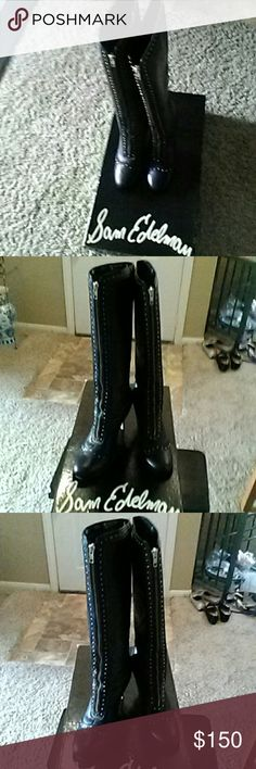 Sam Edelman beautiful leather boots. Super elegant and unique!! Zipper on the front. Used only a couple of occasions. Look perfect with miniskirts or leggings. Sam Edelman Shoes Over the Knee Boots