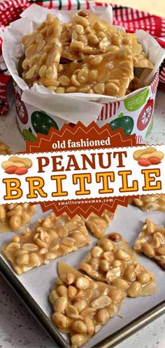 Tis the season for homemade sweets! This old-fashioned peanut brittle recipe is the BEST. With just 7 ingredients, you can have the perfect Christmas candy for holiday gift-giving. What a super easy dessert recipe for a crowd! Easy Peanut Brittle Recipe, Brittle Recipes, Homemade Peanut Brittle, Christmas Desserts Easy, Easy Desserts, Christmas Candy, Christmas Goodies, Christmas Treats, Christmas Time
