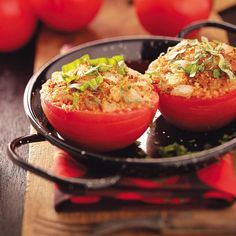 Herb-Topped Stuffed Tomatoes Recipe -This simple treatment perfectly complements the fresh taste of tomatoes. Serve as a side dish to any entree or as a fresh summer appetizer. Mary E. Relyea - Canastota, New York
