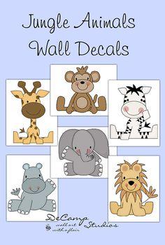 Safari Animal Prints OR decals wall art for baby boy or girl safari zoo nursery room decor. Includes six different animals; zebra, lion, elephant, monkey, hippo, and giraffe #decampstudios