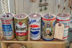 Beer can candles.