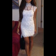 White lacy dress Stretchy material with overall lace detail. Brand new never worn except trying for photos Urban Outfitters Dresses