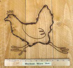 Running Chicken handmade metal decor barbed by BarbedWireArtist, $17.75