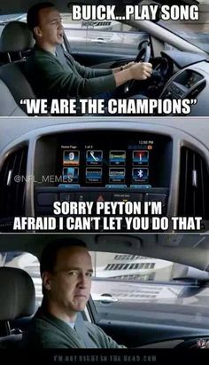 Sucks for you Peyton Manning haha. We are the champions my friends. And we'll keep on fighting till the end. We are the champions we are the champions no time for losers (DENVER) cause we are the champions of the world. Nfl Jokes, Funny Football Memes, Funny Nfl, Basketball Memes, Funny Sports Memes, Sports Humor, Football Humor, Football Shirts, Football Stuff