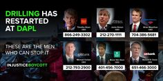 Drilling has restarted at DAPL - These are the men who can stop it.  Wells Fargo CEO: Timothy Sloan - (866) 249-3302 timothy.j.sloan@wellsfargo.com  JPMorgan Chase & Co. Chairman and CEO: Jamie Dimon - (212) 270-1111 jamie.dimon@jpmchase.com  Vice President, Corporate Media Relations: Jennifer Lavoie - jennifer.h.lavoie@jpmchase.com  Managing Director, Corporate Communications: Andrew Gray -  andrew.s.gray@jpmchase.com  Global Head, Marketing & Communications: Brian Marchiony…