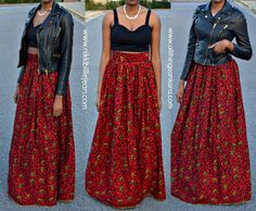 African Print Full Flared Skirt by CoCoCremeCouturier on Etsy