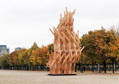 Kengo Kuma installed this climbable wooden pavilion in a Paris park.