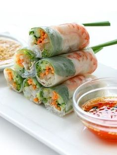 This spring roll recipe provides a really tasty meal choice which includes fresh vegetables and shrimp as well as a flavorful dipping sauce. Shrimp Spring Rolls Recipe from Grandmothers Kitchen. I don't eat shrimp so I cooked chicken Sushi Recipes, Seafood Recipes, Asian Recipes, Cooking Recipes, Vietnamese Recipes, Vietnamese Food, Vietnamese Restaurant, Game Recipes, Japanese Recipes