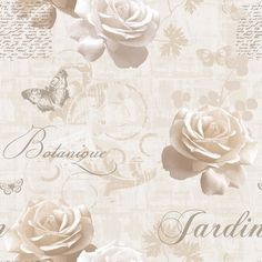 Create an elegant and stylish look in your home with the vintage French inspired Botanical Garden Wallpaper from Muriva. This beautiful floral design in warm peachy tones of cream features blooming roses, delicate butterflies, subtle script and classic calligraphy. Also available in Silver, Blue and Pink. £8.99 per 10m roll. Wallpaper Pink And White, Cream Wallpaper, Wallpaper Uk, Silver Wallpaper, Designer Wallpaper, Wallpaper Ideas, Bedroom Wallpaper, Luxury Wallpaper, Wallpaper Designs