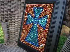 Mardi  Gras Bead  Framed Cross blue and orange.