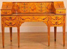 Carlton House Desk in Satinwood Inlay Desks English
