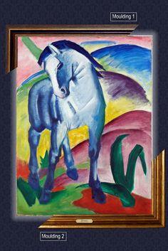 Canvas framed print, Blue Horse I, Franz Marc, giclee canvas, gold framed, nameplate by GoldFramedCanvas on Etsy
