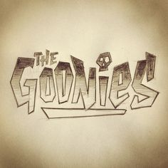 My kids are still on vacation & at work with me today; thought I'd introduce them to one of the best adventure movies of my childhood. #kidsintheoffice #thegoonies #lettering #backtowork