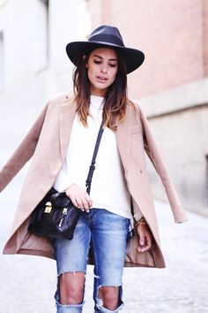 black hat, cat-eyeliner, ombre hair, neutral coat, crossbody bag & ripped jeans #style #fashion #dulceida