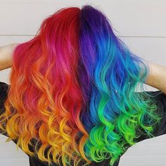 Thanks to for this incredible technique I was able to ROCK it out at Sydney hair expo with the best team in… Vibrant Hair Colors, Hair Dye Colors, Cool Hair Color, Colorful Hair, My Hairstyle, Pretty Hairstyles, Wig Hairstyles, Split Dyed Hair, Pelo Multicolor