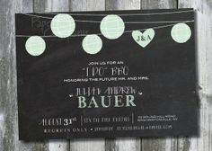 LANTERN I DO BBQ Blackboard Chalkboard Engagement Party, Couples Shower, Rehearsal Dinner Invitation - You Print
