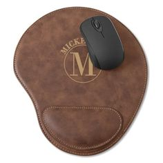 Monogrammed Rustic Faux Leather Mouse Pad- This durable personalized mouse pad desk accessory has the look and feel of genuine leather, and routine care is a breeze with a little soap and water if needed. Details: Faux leather surface is water and st Pad Mouse, High Quality Pens, Desk Gifts, Personalized Valentine's Day Gifts, Custom Mouse Pads, Business Gifts, Groomsman Gifts, Rustic, Collection