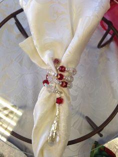Handmade beaded napkin rings and napkin