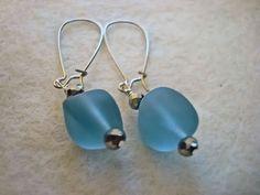 Sea Glass Chunk earrings blue sea glass chunk by MicheladasMusings, $8.00