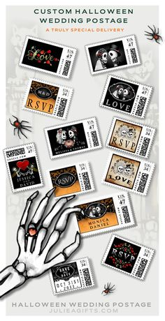Put a little extra Halloween LOVE on your Halloween wedding invitations with unique custom postage. Easy to order online. #halloweenwedding #spookyweddingpostage #gothicwedding