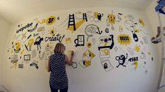 Un video time lapse donde podemos ver como se hace un mural de principio a fin. Es hecha en una pared de una oficina dentro de una startup de tecnología. L