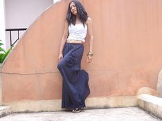 Wide Leg Pants  ...Flared Pants ...Color Dark Blue by Ablaa, $35.00