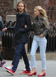 Staying close: Elsa Hosk was spotted out and about in New York City with her boyfriend Tom Daly