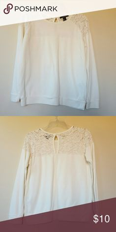 Forever 21 Lace Detail Sweatshirt White, Lace detail on shoulders and top back, Size Small. Worn once. Forever 21 Sweaters