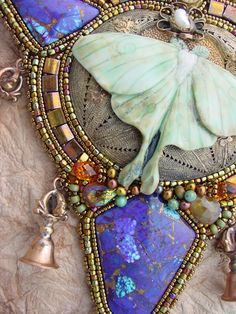 Luna Moth Necklace with Dorjie Bells by HeidiKummliDesigns on Etsy